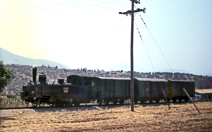Metre gauge steam locomotive and goods train on the Peleponnese railway.