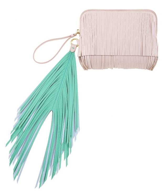 Pretty up the party with this little stunner.  A vibrant and on-trend color blocked clutch featuring hues of pale rose, mint, and gold, finished in a luxe leather body, with side fringe detailing.  Pair it with a neutral mini dress and wedges for a stunning and feminine ensemble.