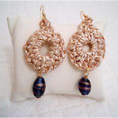 Orecchini gioiello tessile in viscosa e pietre veneziane