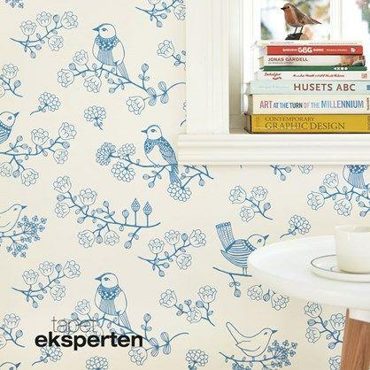 Sugar Tree blå/hvid tapet med fugle