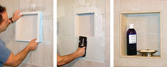 "Prefab shower niche $67. ""sized to fit between studs and are the perfect depth to slide into a 2x4 wall cavity. They are adhered between the studs with an acrylic sealant, and mesh seam tape then is applied over the joint between the niche and the wallboard. Once the unit is in place, you can tile over it using latex-modified thinset... always start to tile before cutting out the niche (to ensure tilework lines up)."""