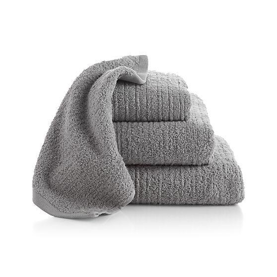 Ribbed Grey Bath Towels