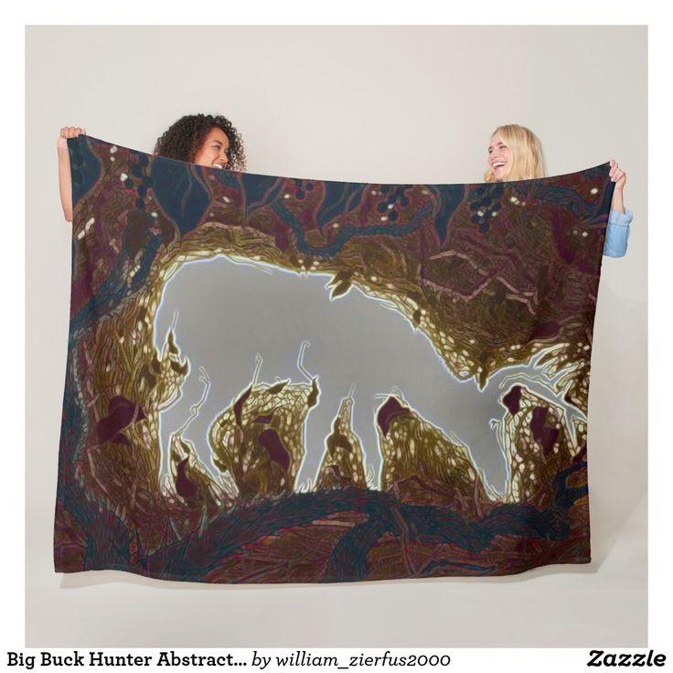 Big Buck Hunter Abstract Outdoorsman Fleece Blanket