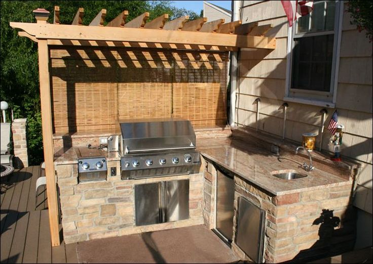 The 220 best images about cook shack on pinterest stove for Outdoor kitchen under pergola