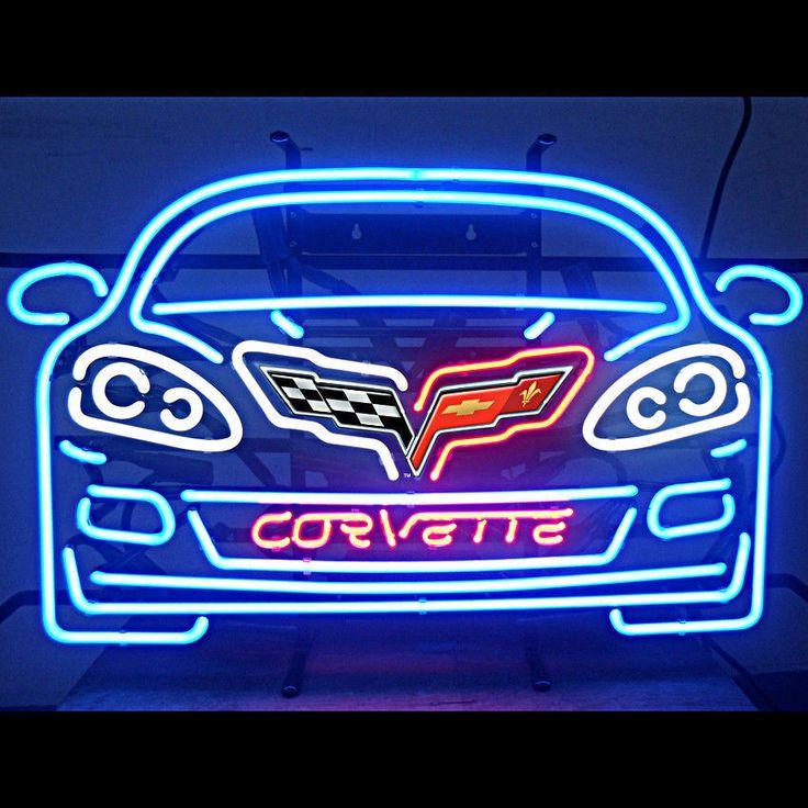 Unique Clock Works Corvette C6 Neon Sign On Metal Grid
