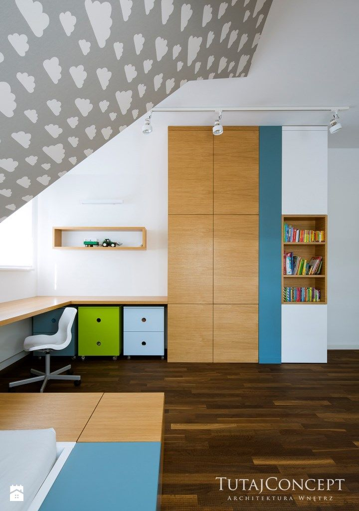 Realizacja I - Średni pokój dziecka dla chłopca dla ucznia dla nastolatka, styl nowoczesny - zdjęcie od TutajConcept
