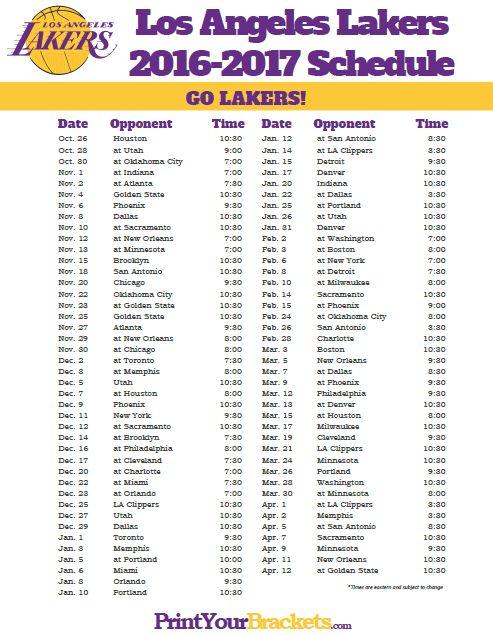 2016-2017 Los Angeles Lakers Schedule