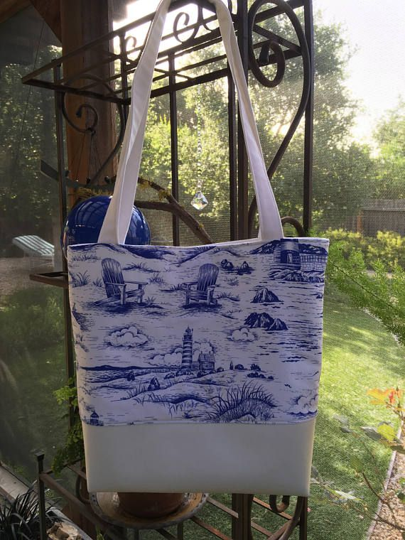 Large Summer Bag By the Sea Vintage tote Blue and White