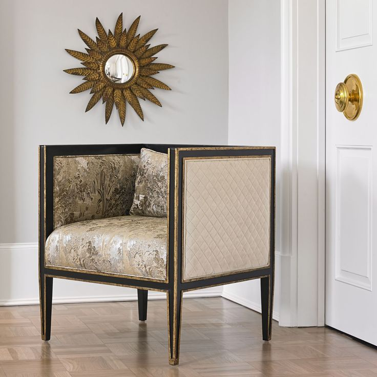 Crafted From Mahogany With An Ebony Finish And Antique Gold Detailing. Seat  Upholstery Is A