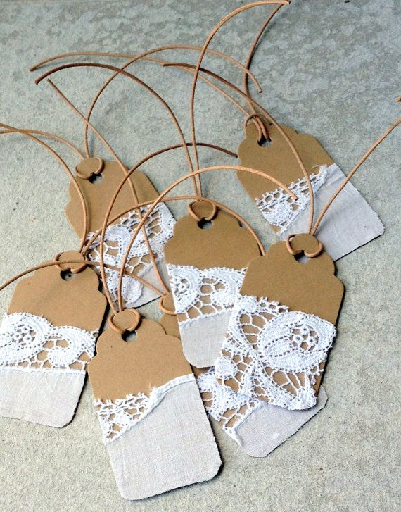 Gift Tags with Vintage Cotton and Lace. $6.00, via Etsy.