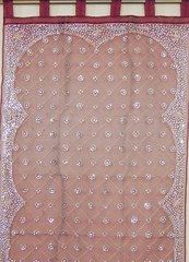 Hand Embroidered Indian Curtain Window Treatment Tab Top Panel Burgundy 96in Beaded Zardozi