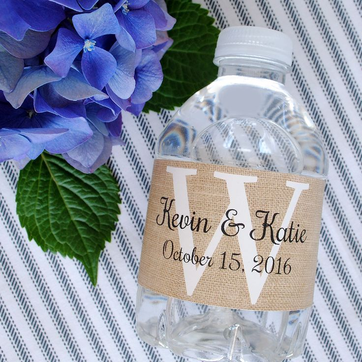 This burlap background water bottle labels fits almost any country themed wedding. Add your personalized information with easy online ordering.