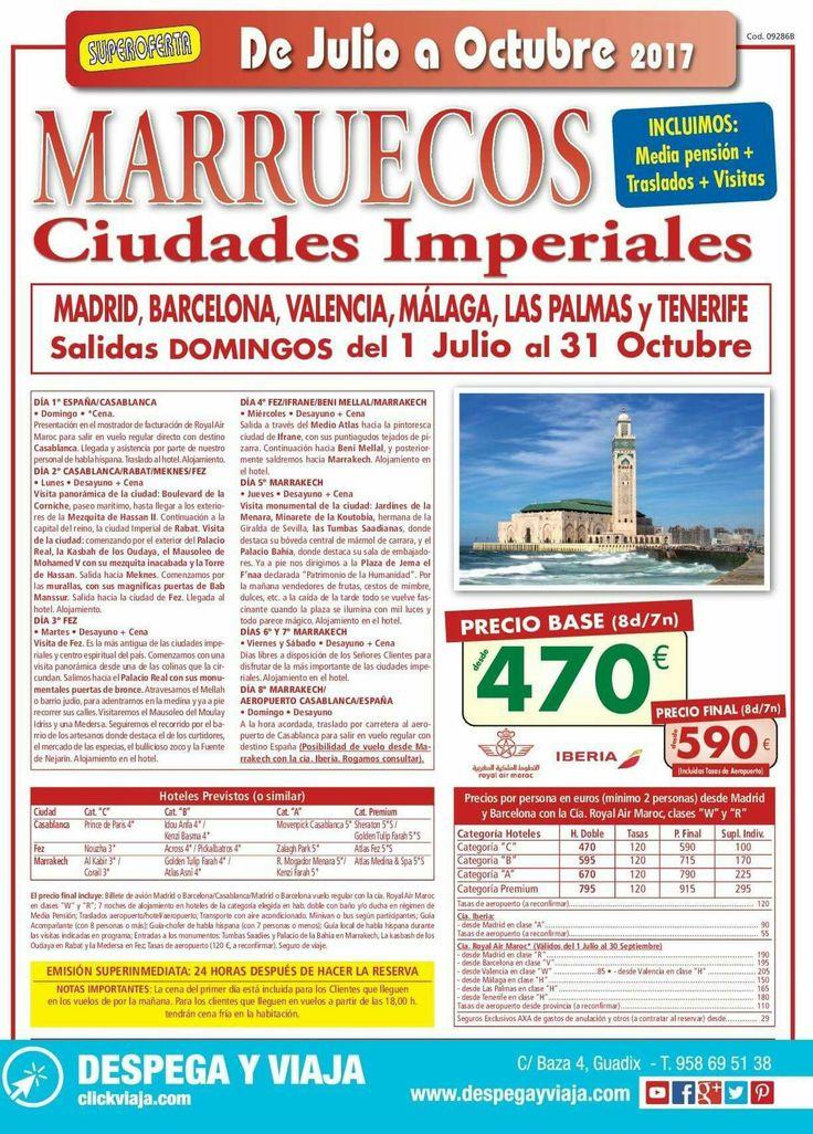 ¡SUPEROFERTÓN!. 8 DÍAS EN MARRUECOS VISITANDO: CASABLANCA-RABAT-MEKNES-FEZ-IFRANE-BENI MELLAL-MARRAKECH DESDE SOLO 590€. (Salidas en avión desde Madrid, Barcelona, Valencia, Málaga, Las Palmas y Tenerife/ media pensión, traslados y visitas incluidos). llámanos al 958695138 o ven a visitarnos. Esta y otras muchas ofertas las hemos preparado para ti. Y Ahora paga tus vacaciones a PLAZOS SÍN INTERESES. además al hacer tu reserva te regalamos 50€. #DespegayViaja, tu agencia profesional de…