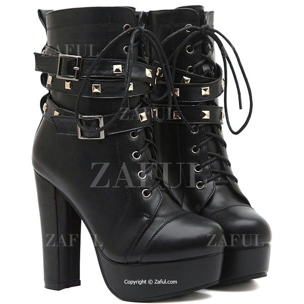 Black Rivet Platform High Heel Boots ($38) ❤ liked on Polyvore featuring shoes, boots, high heel platform shoes, platform boots, high heel platform boots, high heel shoes and high heel boots
