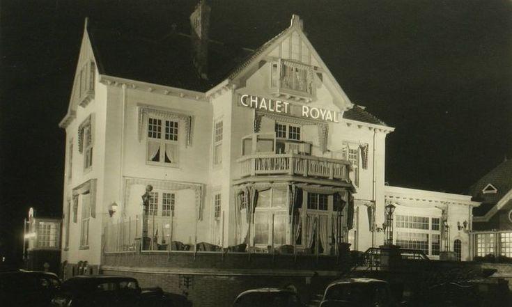 Den Bosch: Het Wilhelminapark 1950. Chalet Royal in floodlight ter gelegenheid van het 12,5 jarig bestaan.