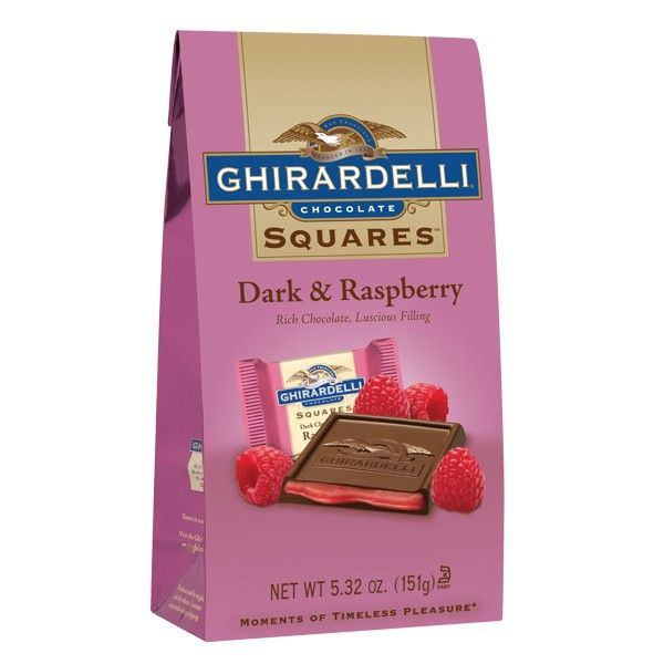 My Little squares of heaven! When I need a chocolate fix, these are the perfect portions for a treat! Flavor combination yummy!  Dark & Raspberry SQUARES Stand Up Bag - SQUARES - SHOP PRODUCTS - #GhirardelliChocolate