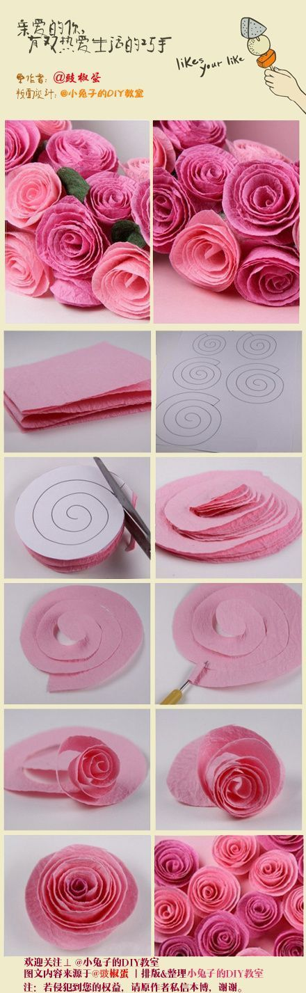 rosas de crespn a partir de un espiral