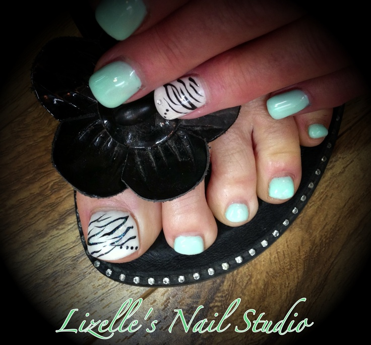 Mint colour with accent zebra and white accent nails with silver gems. Mint toes with pearl white Zebra big toe as accent. Hand-painted nail art. Sculpted gel nails. www.facebook.com/LizellesGelNails