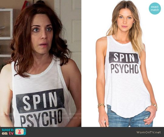 Jo's Spin Psycho tank top on Girlfriends Guide to Divorce.  Outfit Details: https://wornontv.net/64861/ #GG2D