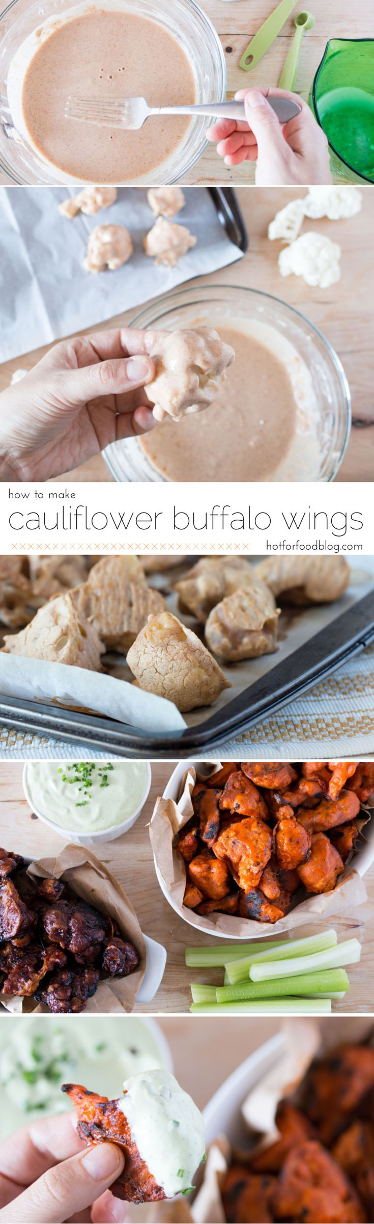 how to make #vegan cauliflower buffalo wings | RECIPE on hotforfoodblog.com