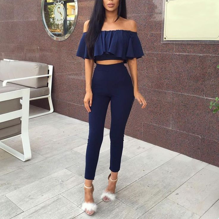 Fashion Sexy Off Shoulder Two Piece Set Lotus Tube Tops+Long Pants Women Clothing Set Summer Outfits