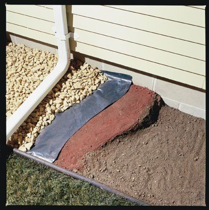 Family Handyman DIY Tip of the Day: Inexpensive Wet Basement Solution. Sloping the soil away from the house will take care of the problem most of the time. Firmly pack clay soil around the foundation, with at least a 4-in. slope over the first 4 ft. Place 6-mil black plastic over the soil and cover it with landscape rock. Install 4- to 6-ft. gutter extensions to your downspouts to direct water farther away from your foundation. by dorothea