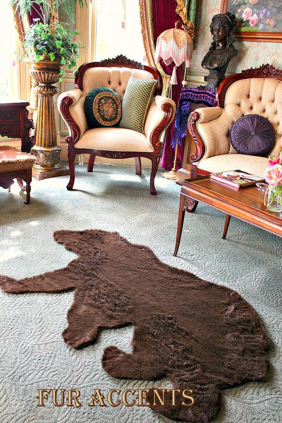 Plush Thick FAUX FUR FABRIC Bear Skin Rug Grizzly Fake Bearskin Teddy Bear Faux Taxidermy Toss Rug Skin Hide Pelt Rug