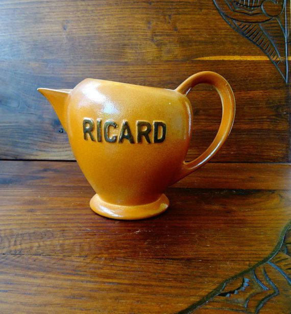 Bistro Vintage Ricard Pitcher French ceramic Pastis water jug by…