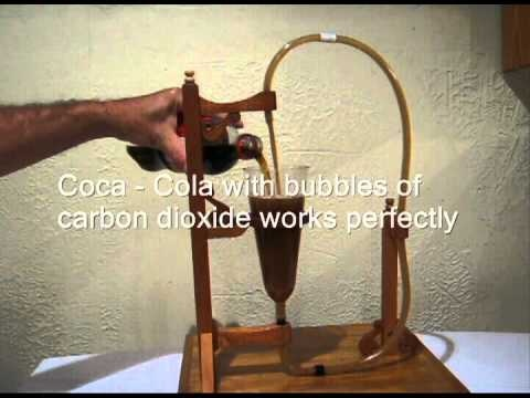 Experiment with perpetual machines - different types of liquids
