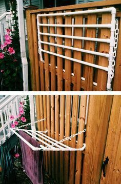 PVC pipe towel rack. Great for outdoor pools and backyards!