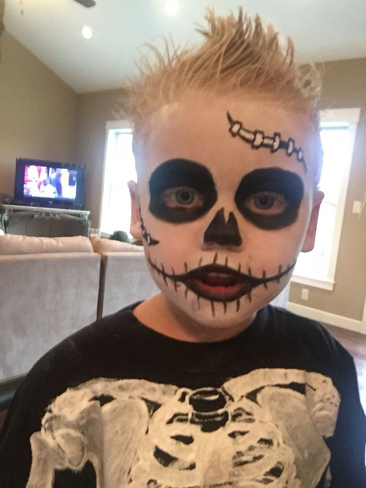 kid's skeleton makeup & hair