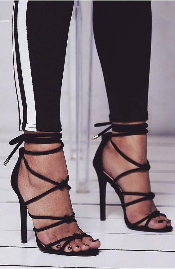 1ad9bbe3021 Black Strappy Stiletto Heels Sexy Fashion Sandals Summer Fashion Outfits  Women Summer Styling Sandals Sexy Prom Shoes  sexyheels  silversandals   summerstyle ...