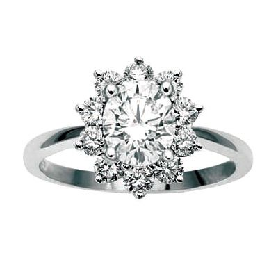 WHITE GOLD OVAL DIAMOND CLUSTER ENGAGEMENT RING, Temelli Jewellery