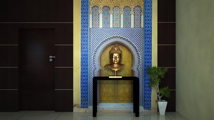 Вид на вход в гостиную комнату с применением фотообоев восточной тематики.