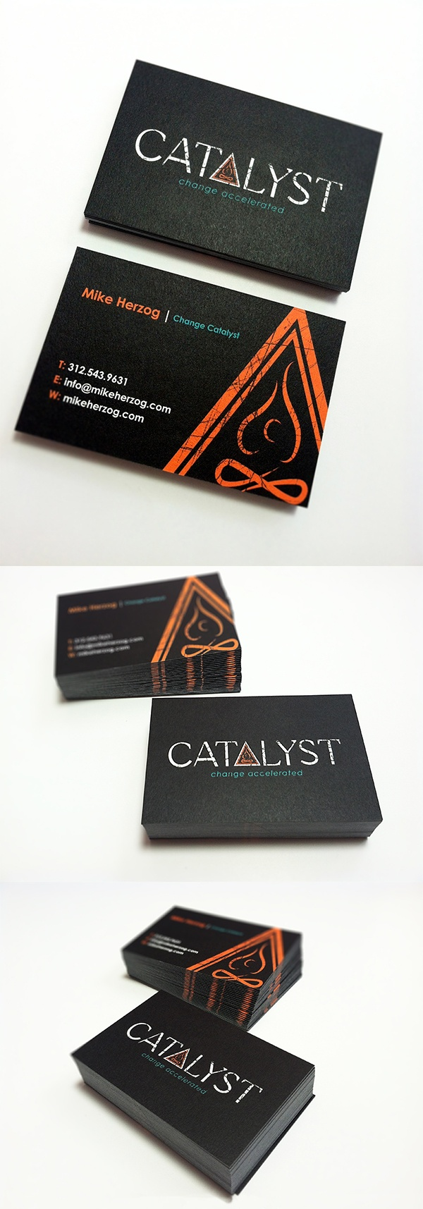 """New business card design for a great company out of Houston, Texas.  """"Catalyst"""", a life coach company. Check them out a www.mikeherzog.com"""
