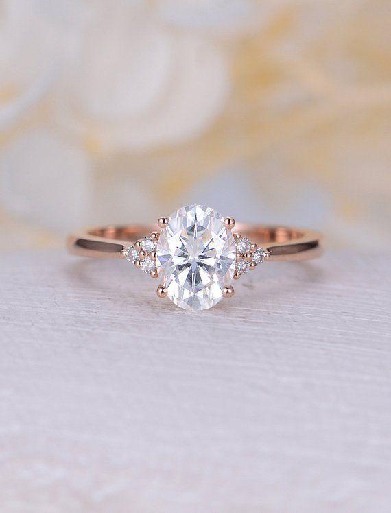 Vintage Moissanite Engagement Ring Rose Gold Oval Engagement Ring