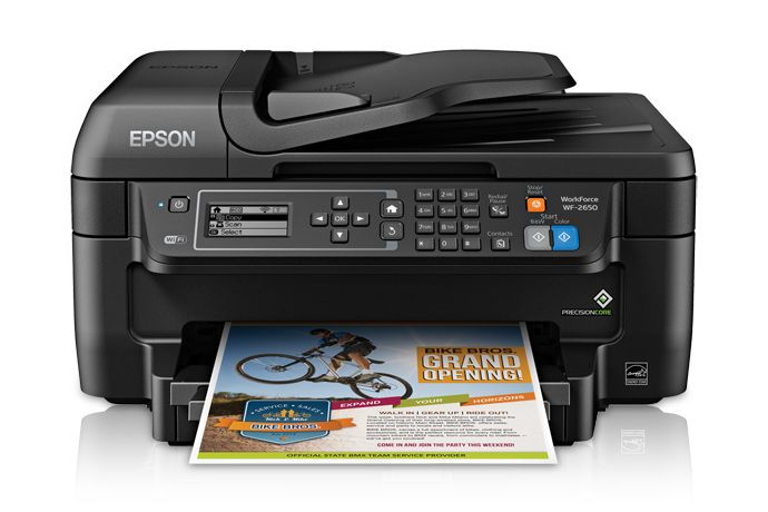 All in one system wireless connectivity featured Epson WF 2650 inkjet printer.
