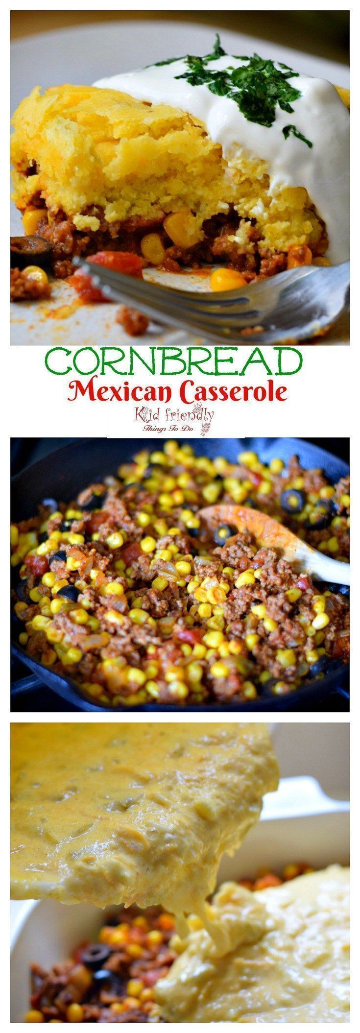 Cornbread and Ground Beef Mexican Casserole Recipe - easy and delicious. Perfect for Cinco De Mayo or family dinner - http://www.kidfriendlythingstodo.com
