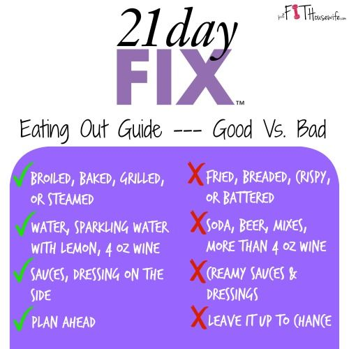 21 day fix eating out guide | The Fit Housewife