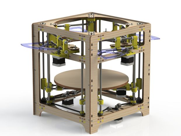 """The Theta 3D Printer: 4 Extruders On A Polar Coordinate System:  Traditional 3D printers, as well as most CNC routers, laser cutters, and most machine tools where the programmer doesn't want to go crazy trying to get his or her head around the underlying code, work in the XY coordinate """"theta printer,"""" eschews that paradigm and instead uses Polar Coordinates and not one, but four extruder heads"""