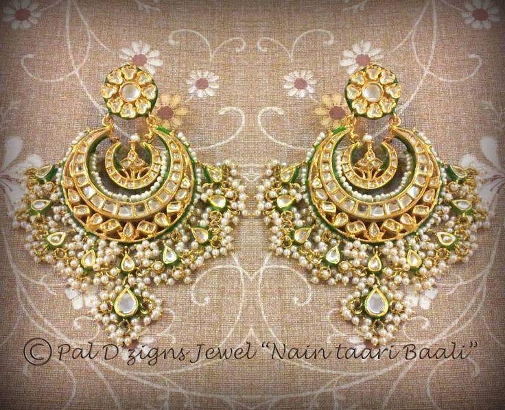 Kundan Peral Jhumka earrings