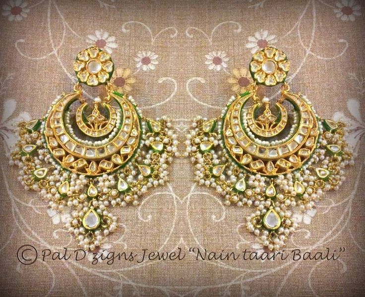 Kundan Peral Jhumka earrings