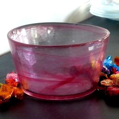 kosta boda mine large serving bowl - pink