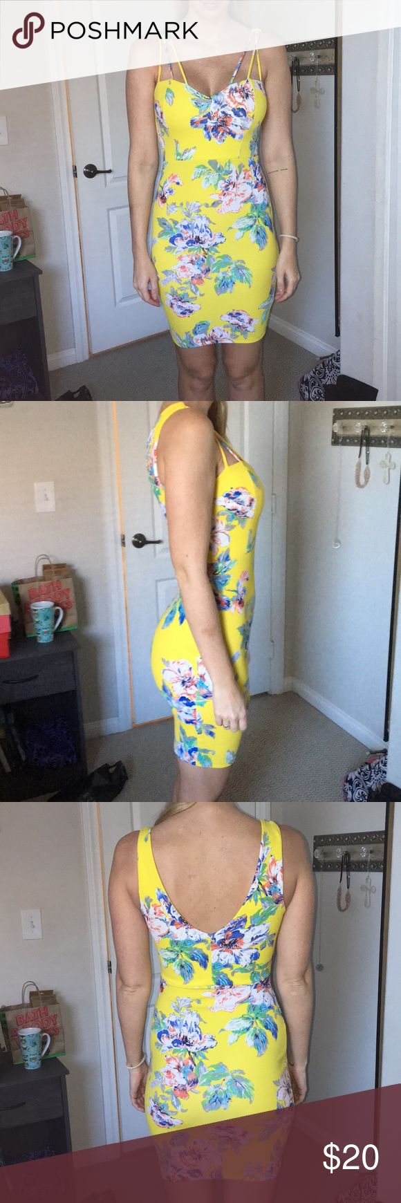 """yellow floral tunic dress From apricot lane boutique. Very stretchy, only worn once to a wedding. No flaws.  I'm 5'9"""" so it comes a little above the knee. I usually wear a size 4 just me Dresses Mini"""