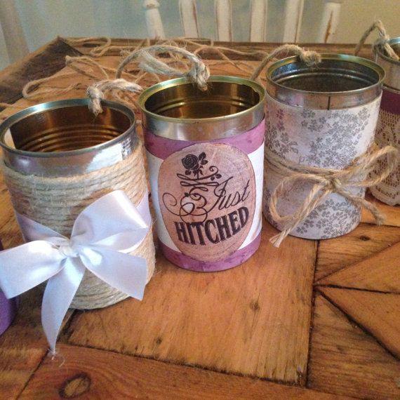 Wedding Decor  Decorated Cans  Purple  by JessieLouise22 on Etsy