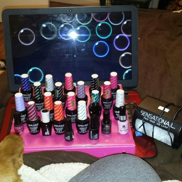 O.p.i gel/shellac nail kit This is the full kit 16 o.p.I gelcolor polishes, retail $15 each as well as some other randoms matte and shiny top coat with led lamp. This will save you a ton of money in the long run as gel manicures are $30-40 each and needed every 2 weeks. o.p.i Other