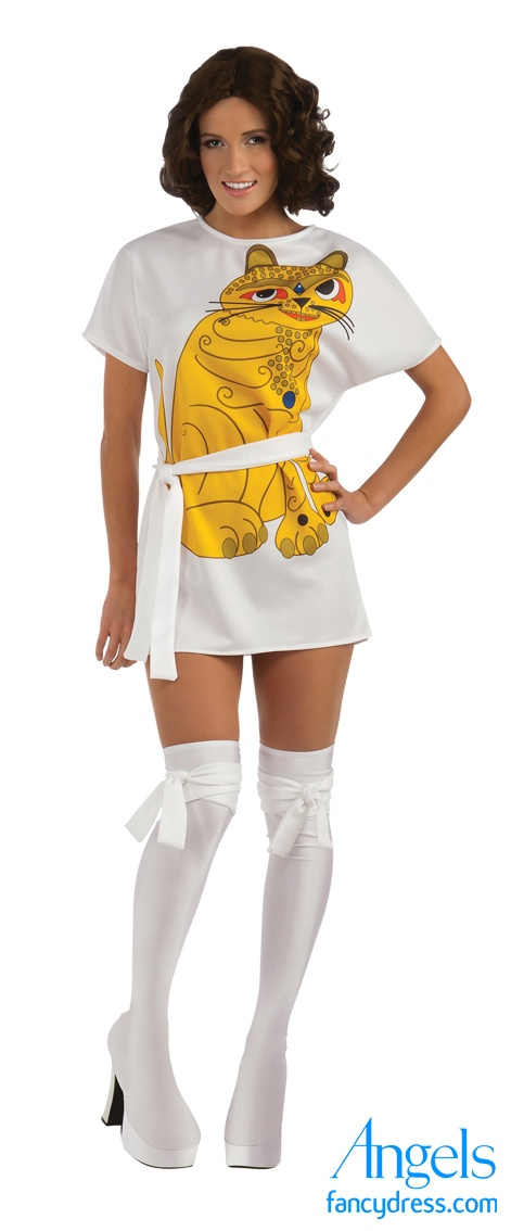 Abba had HUGE popularity in the 70's continuing through today with may movies using their music on their soundtracks This costume is Anni, the yellow cat print on a micro-mini tea-shirt style dress. The pack also includes a waist tie and a pair of long white boot covers. http://www.fancydress.com/costumes/Abba-Anni/0~1288424~119