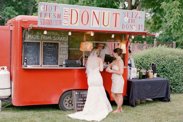 Who says you can't have a donut truck at a garden party? We love this real wedding idea! http://food-trucks-for-sale.com/