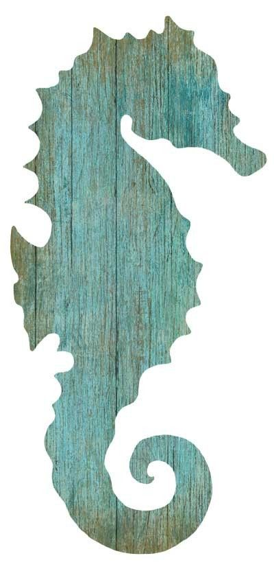 Artist Suzanne Nicoll's wonderful image of the silhouette of an aqua colored seahorse facing to the right with his fin pointed left, printed directly onto a distressed wood panel creating a unique and
