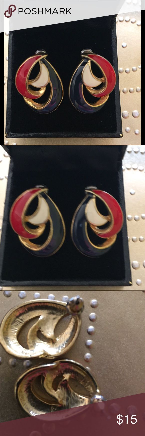 Red White And Blue Nautical Earrings Purchased at estate sale not sure of the age. Seller told me they were her mothers. They are probably from the sixties. Like new condition. Please no lowball offers. I spend a lot of money and time to find these treasures for you. Thank you for looking. Jewelry Earrings